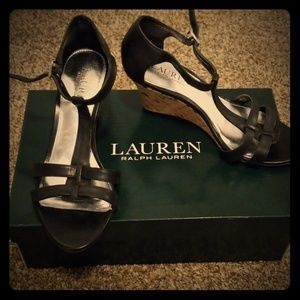 Ralph Lauren Brown Leather Wedges